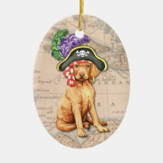 Vizsla Pirate Ceramic Oval Decoration