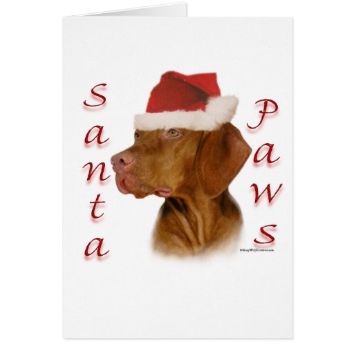 Vizsla Santa Paws Card