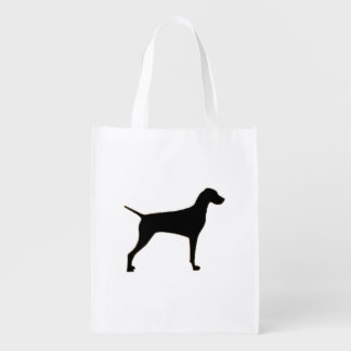 Vizsla silo black.png reusable grocery bag