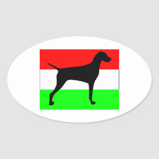vizsla silo Hungary-Flag.jpg Oval Sticker
