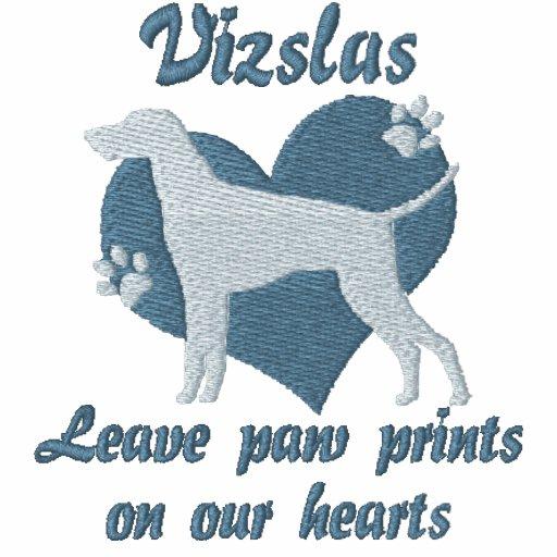 Vizslas Leave Paw Prints Embroidered Shirt
