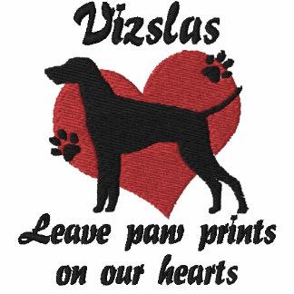 Vizslas Leave Paw Prints Embroidered TShirt