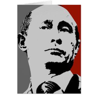 Vladimir Putin on Red Greeting Card