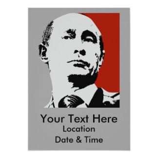 Vladimir Putin on Red 13 Cm X 18 Cm Invitation Card