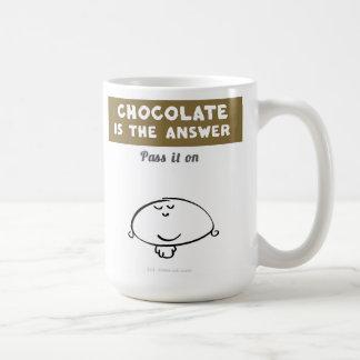 """VM8577 Vimrod """"chocolate is the answer"""" Basic White Mug"""
