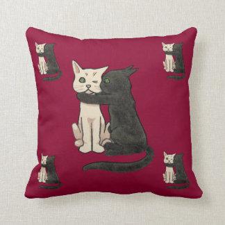 Vntage Cute Kissing Cat Couple Art Cushion