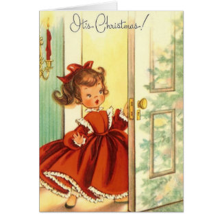 Vntage Little Christmas Girl In Red Dress Greeting Card
