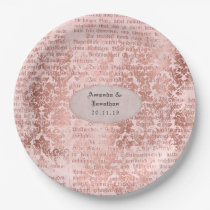 Vntage Rose Gold Shabby-Chic Wedding Paper Plate