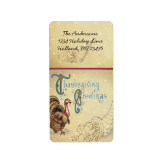Vntage Turkey Thanksgiving Greetins Antique Font Label
