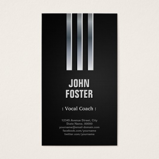 Vocal Coach - Steel Metal Look Business Card