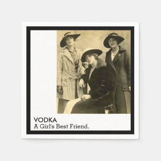 Vodka Girls Best Friend Vintage Women Funny Quote Paper Napkin