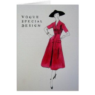 Vogue Red Dress 1953 Greetings Card