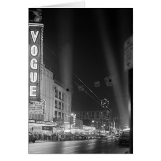 Vogue Theatre at night with spotlights Card