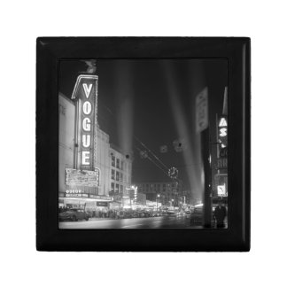 Vogue Theatre at night with spotlights Small Square Gift Box