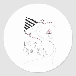 vol25 lets fly a kite classic round sticker