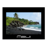 Volcanic black sand beach on Hawaii postcard