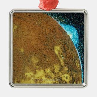 Volcanic Eruption on Io Silver-Colored Square Decoration