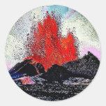 Volcano 7 enamel round stickers