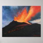 Volcano Art Print Poster