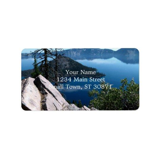 Volcano Deep Blue Crater Lake Oregon USA Address Label