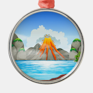 Volcano eruption at the lake christmas ornament