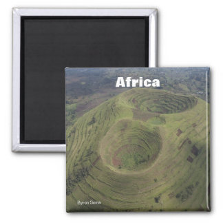 Volcano in Africa Square Magnet