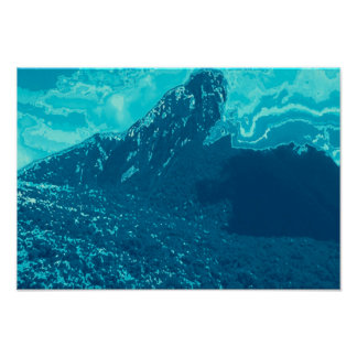 Volcano in Congo blue graphic presentation Poster