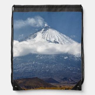 Volcano Klyuchevskaya Sopka on Kamchatka Peninsula Drawstring Bag