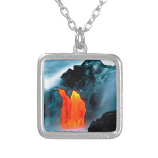 Volcano Lava Flow From Kilauea Hawaii Silver Plated Necklace