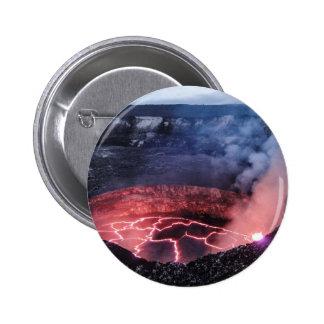 Volcano molten 6 cm round badge