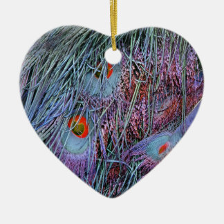volcano orange peacock feathers christmas ornament