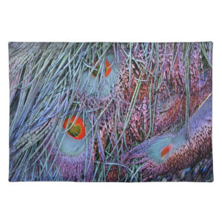 volcano orange peacock feathers placemat