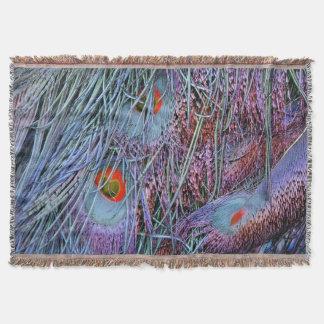 volcano orange peacock feathers throw blanket