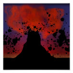 Volcano Silhouette Posters