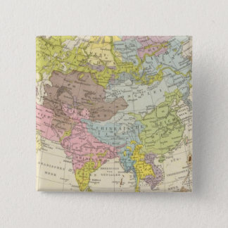 Volkerkarte von Asien - Map of Asia 15 Cm Square Badge
