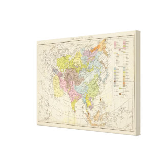 Volkerkarte von Asien - Map of Asia Canvas Print