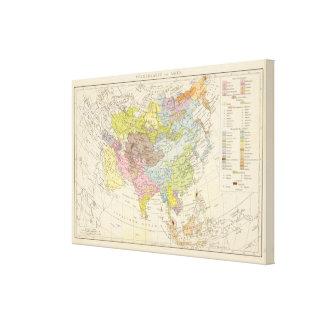 Volkerkarte von Asien - Map of Asia Canvas Print