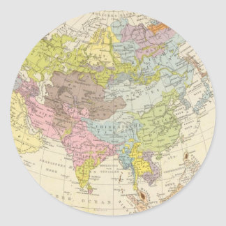 Volkerkarte von Asien - Map of Asia Classic Round Sticker