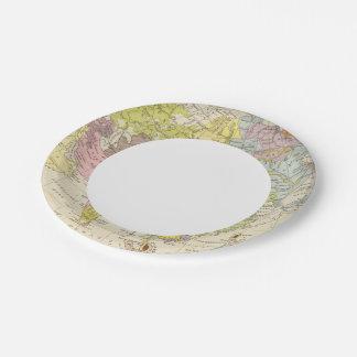 Volkerkarte von Asien - Map of Asia Paper Plate