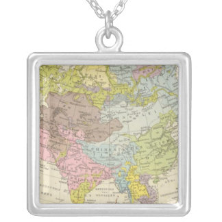 Volkerkarte von Asien - Map of Asia Silver Plated Necklace