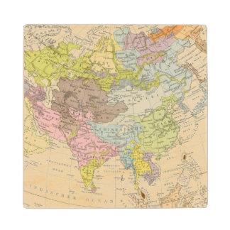 Volkerkarte von Asien - Map of Asia Wood Coaster