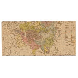 Volkerkarte von Asien - Map of Asia Wood USB Flash Drive