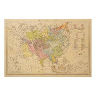 Volkerkarte von Asien - Map of Asia Wood Wall Art