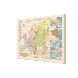 Volkerkarte von Europa, Map of Europe Canvas Print