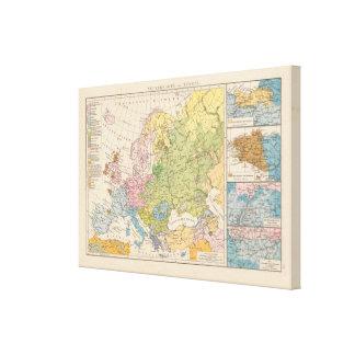 Volkerkarte von Europa, Map of Europe Canvas Print