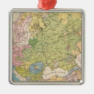 Volkerkarte von Europa, Map of Europe Silver-Colored Square Decoration