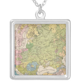 Volkerkarte von Europa, Map of Europe Silver Plated Necklace