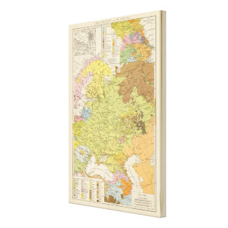 Volkerkarte von Russland - Map of Russia Canvas Print