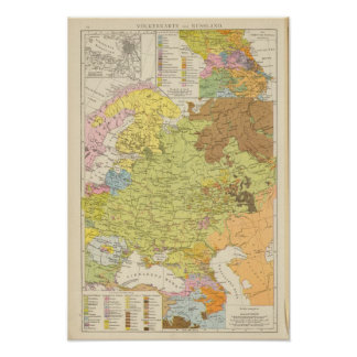 Volkerkarte von Russland - Map of Russia Poster
