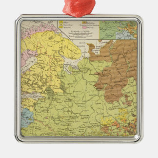 Volkerkarte von Russland - Map of Russia Silver-Colored Square Decoration